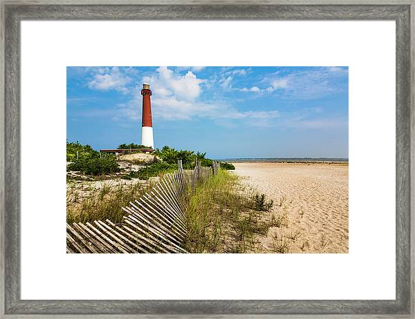 Barnegat Lighthouse, Sand, Beach, Dune Framed Print