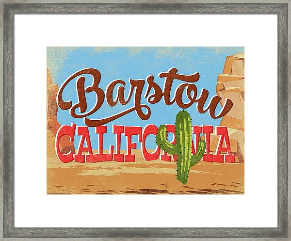 Barstow California Cartoon Desert Framed Print