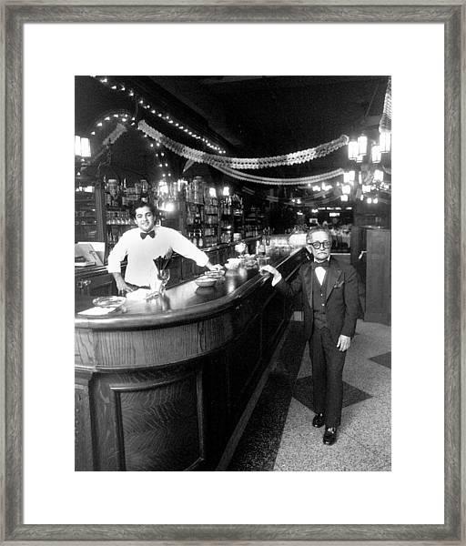Bartender Enzo Cappcutti And Waiter Framed Print