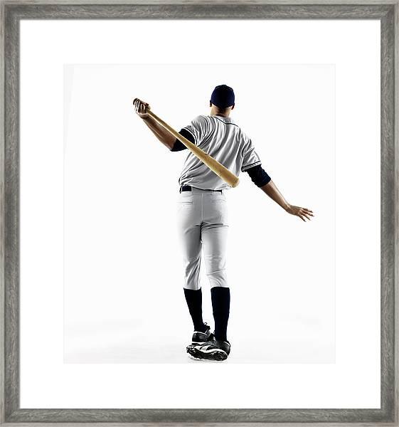 Baseball Player Hitting Home Run From Framed Print