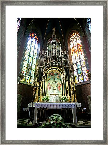 Basilica Of St. Francis Of Assisi Interior In Krakow Framed Print by Artur Bogacki