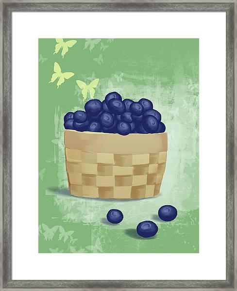 Basket Of Fresh Blue Berries Framed Print