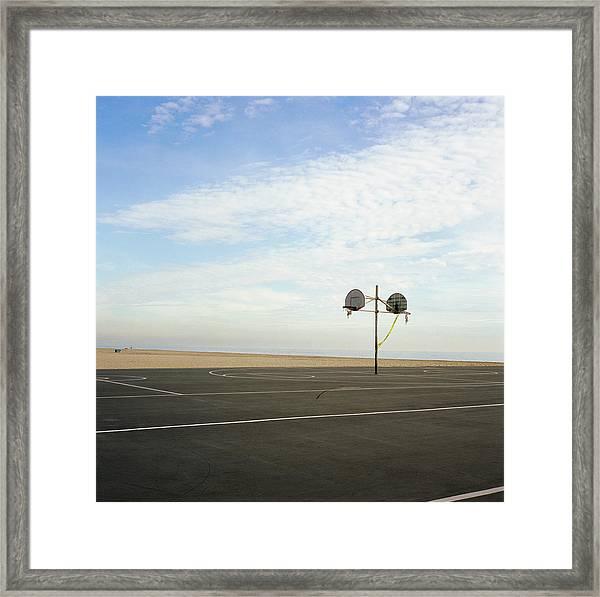 Basketball Court At Beach Framed Print