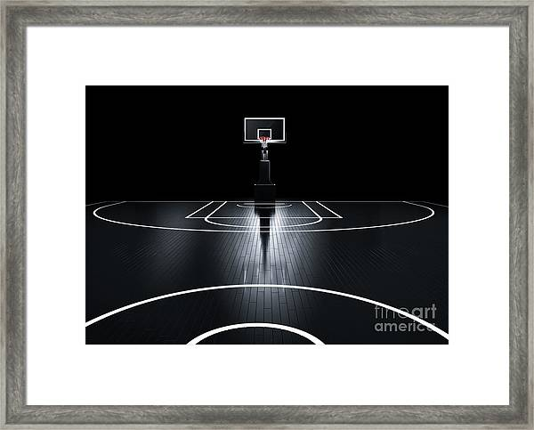 Basketball Court. Photorealistic 3d Framed Print