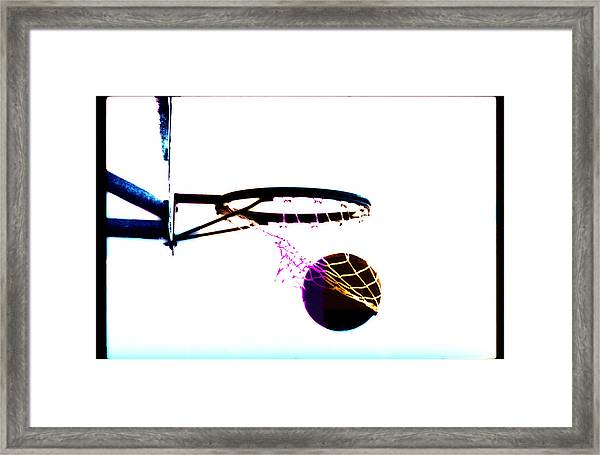 Basketball Going Through Net, Close-up Framed Print
