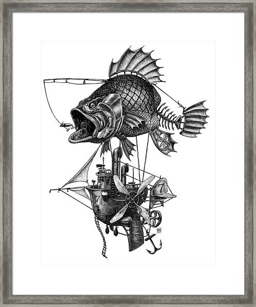 Framed Print featuring the drawing Bass Airship by Clint Hansen