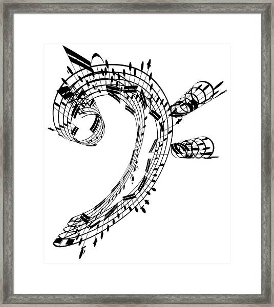Bass Clef Made Of Music Notes Framed Print