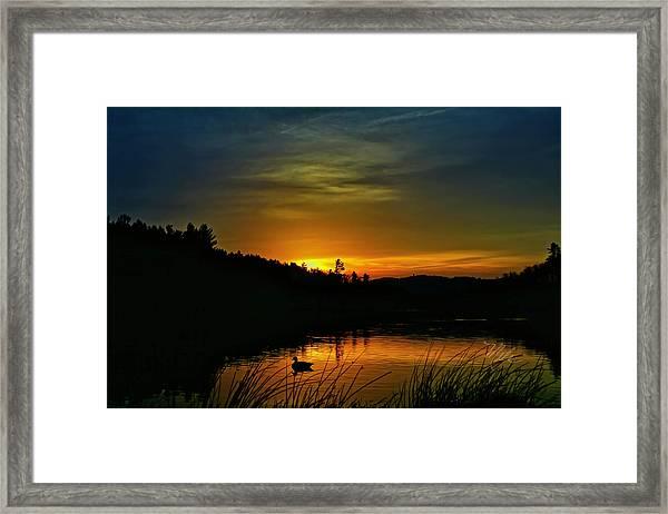 Bass Lake Sunrise Duck Framed Print