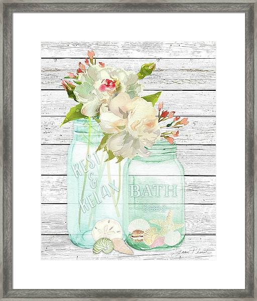 Bath Time Mason Jars D Framed Print