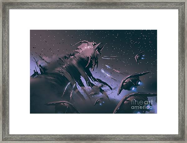Battle Between Spaceships And Insect Framed Print