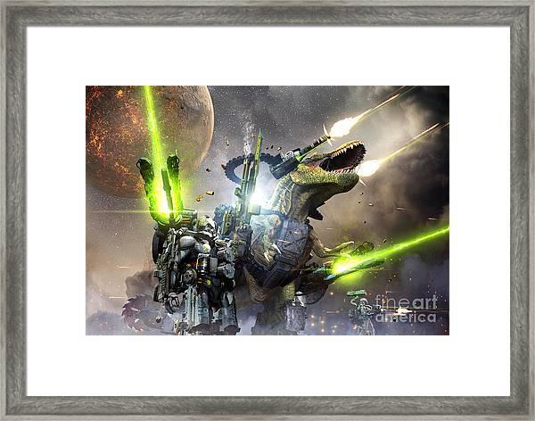 Battle Rex And A Team Of Commandos Framed Print