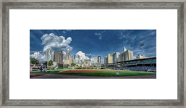Bbt Baseball Charlotte Nc Knights Baseball Stadium And City Skyl Framed Print