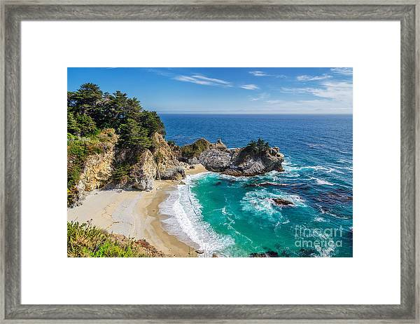 Beach And Falls, Julia Pfeiffer Beach Framed Print by Lucky-photographer