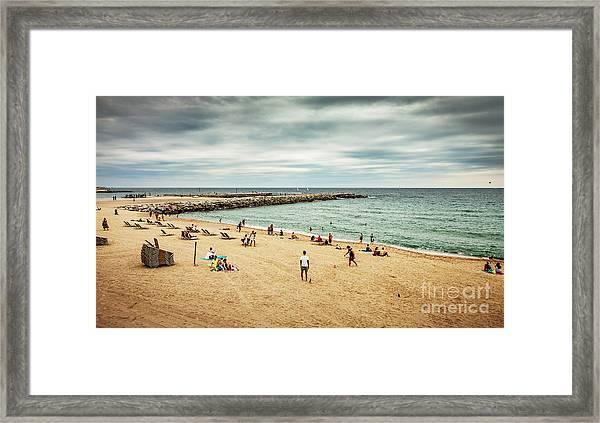 Beach And Sea During Cloudy Dark Summer Framed Print