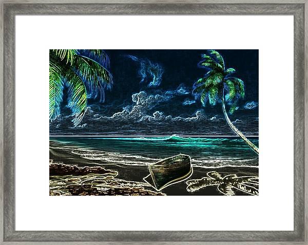 Beach At Night Framed Print