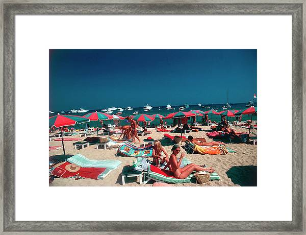 Beach At St. Tropez Framed Print