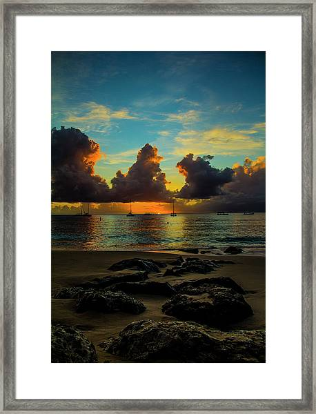 Beach At Sunset 2 Framed Print
