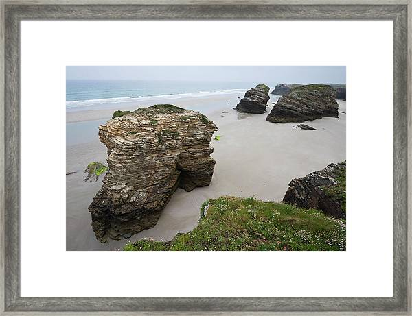 Beach At The Cathedrals, Galicia Framed Print