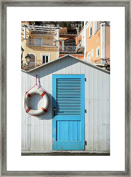 Beach Bathing Box And Life Buoy Framed Print