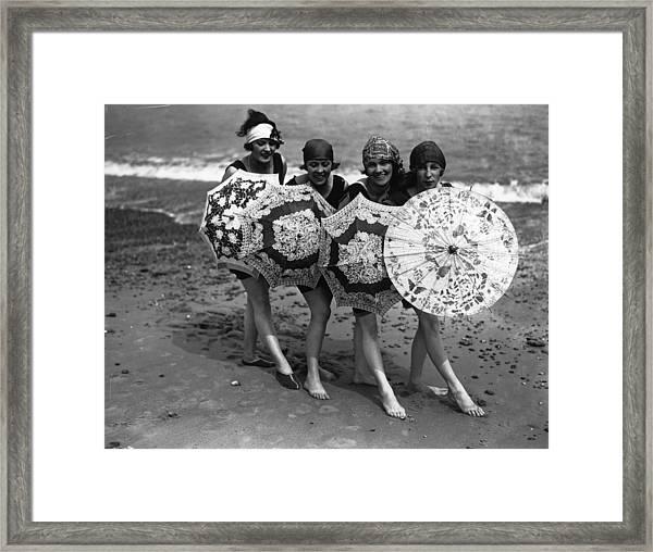 Beach Brollies Framed Print