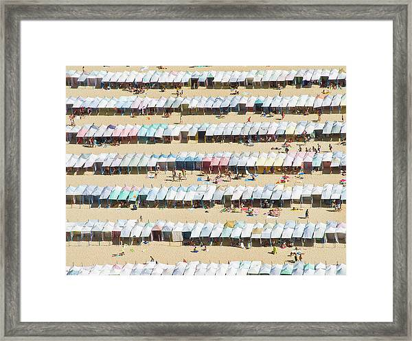 Beach Cabana In Nazare, Portugal Framed Print