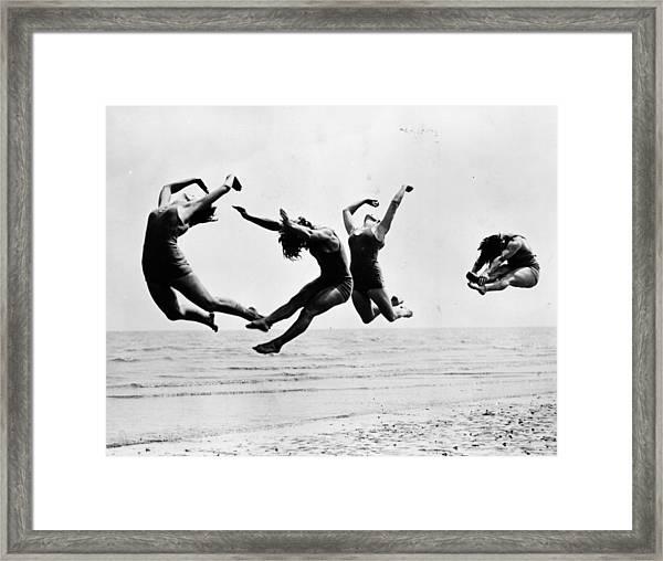 Beach Exercise Framed Print