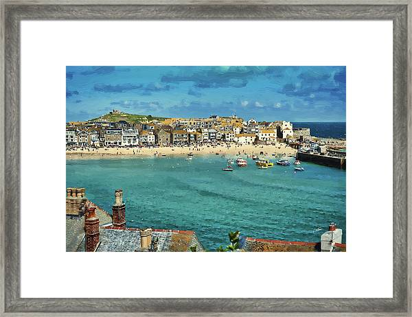 Beach From Across Bay St. Ives, Cornwall, England Framed Print