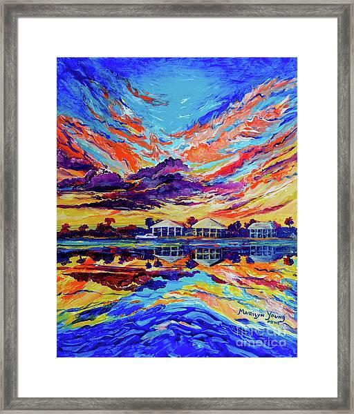 Beach House Reflections Fluid Acrylic Framed Print