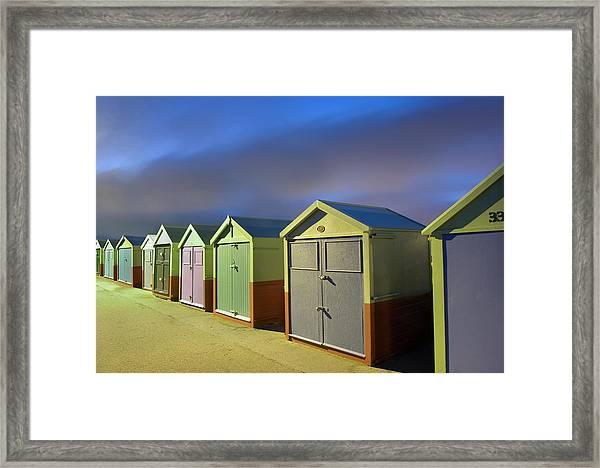 Beach Huts By Night Framed Print