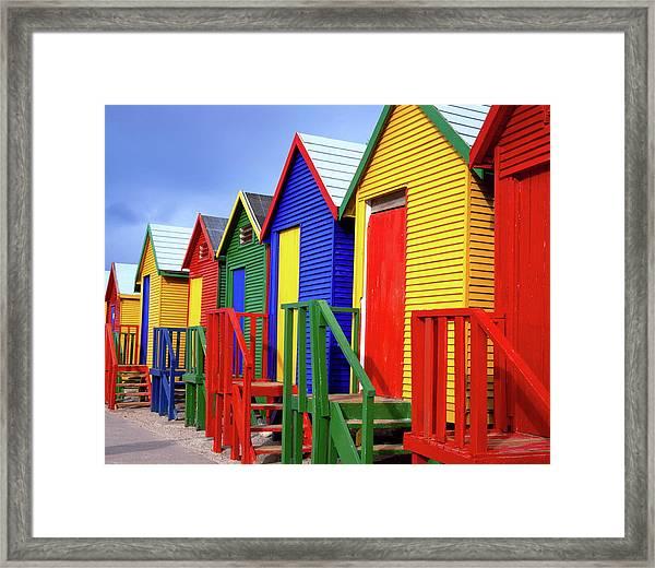 Beach Huts, Fish Hoek, Cape Peninsula Framed Print