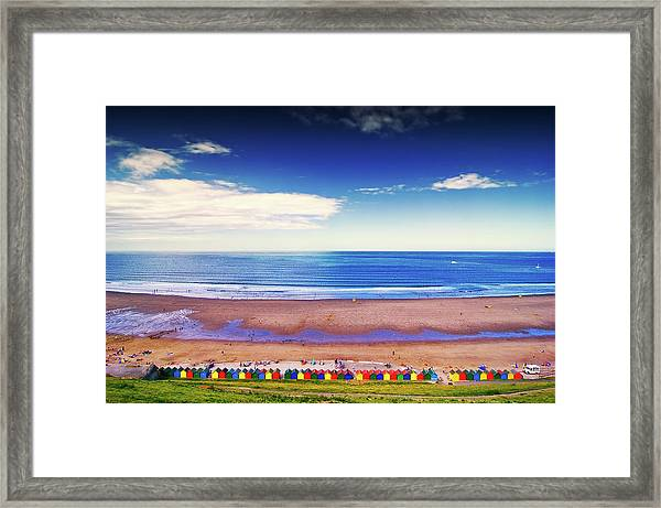 Beach Huts On Beach Framed Print