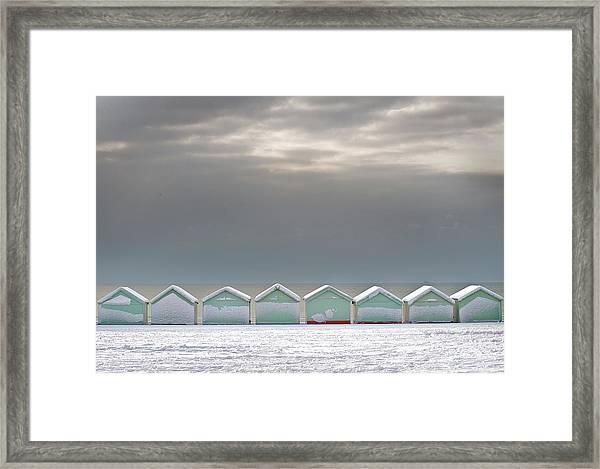 Beach Huts On Hove Promenade In Snow Framed Print
