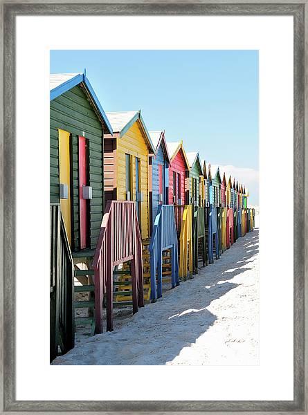 Beach Huts On Muizenburg Beach Cape Town Framed Print