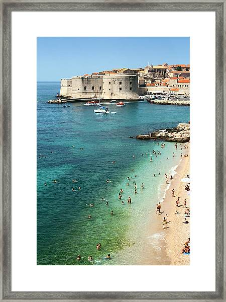 Beach Of Dubrovnik Framed Print by Spooh