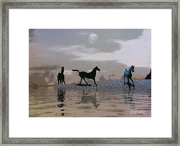 Beach Of Wild Horses Framed Print