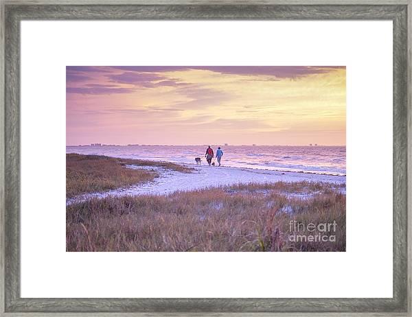Sunrise Stroll On The Beach Framed Print