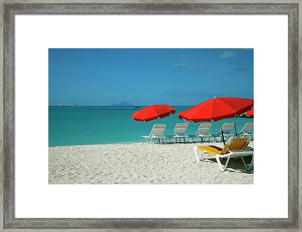 Beach Sun Loungers And Sunshades Framed Print