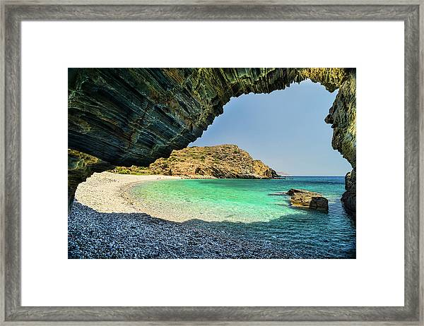 Framed Print featuring the photograph Almiro Beach With Cave by Milan Ljubisavljevic