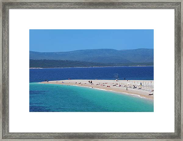 Beach, Zlatni Rat Golden Horn And The Framed Print