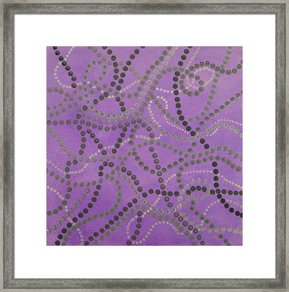 Beads And Pearls - Gray Framed Print