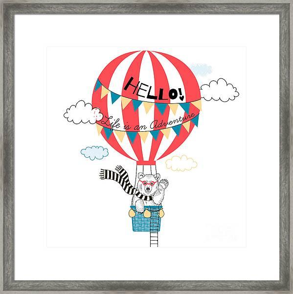 Bear Flying In Air Balloon, Animal Framed Print