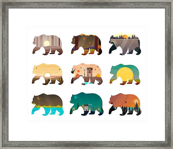 Bear Set. Nature Landscape Inside Framed Print