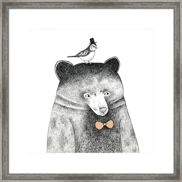 Bear With A Bird On His Head - Pencil Framed Print