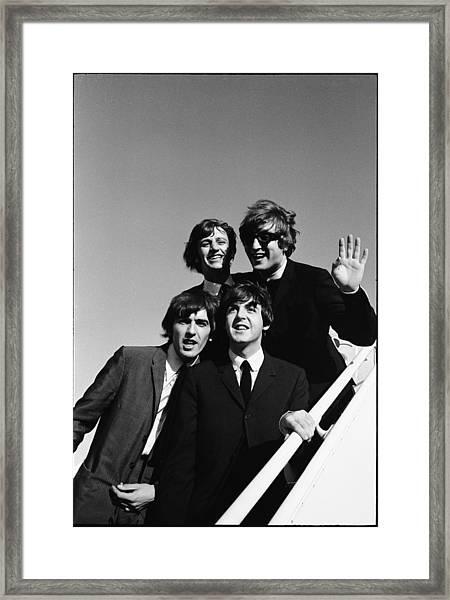 Beatles Arriving At Los Angeles Airport Framed Print