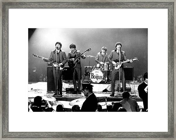 Beatles Perform In Washington, D.c Framed Print by Michael Ochs Archives