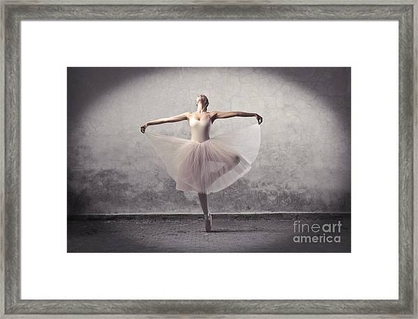 Beautiful Ballerina Dancing Framed Print