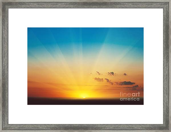 Beautiful Blazing Sunset Landscape At Framed Print