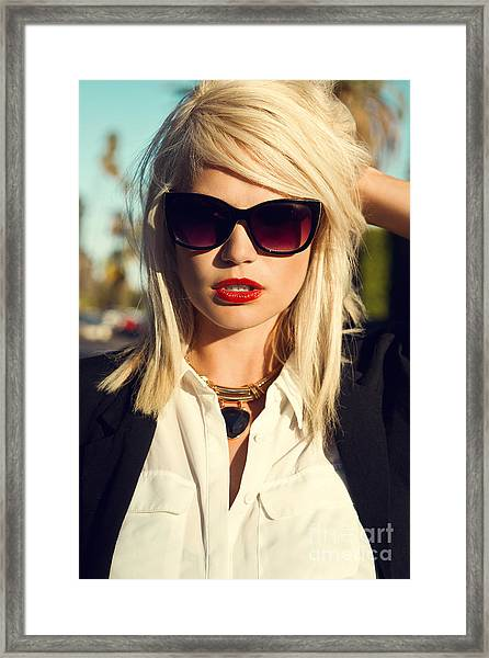 Beautiful Blonde Young Woman Wearing Framed Print