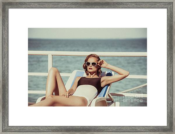 Beautiful Brown Hair Woman Wearing Framed Print by Maxim Getman