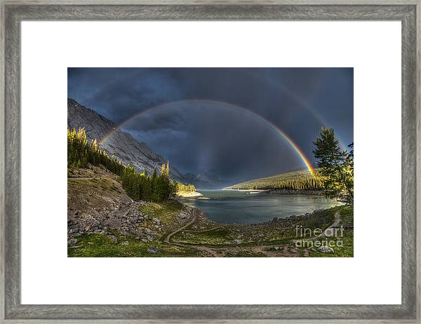 Beautiful Double Rainbow Over Scenic Framed Print